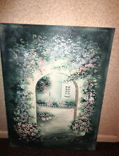 Floral Archway Acrylic Painting signed by E. Lee