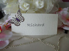 10 x PERSONALISED Printed  Butterfly Wedding Place Name Cards Silver butts