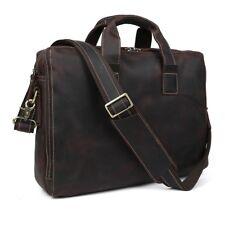"""Vintage Men's Leather 14"""" Laptop Briefcase Messenger Bag Crossbody Work Satchel"""