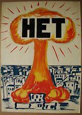 Russian Ukrainian Soviet  Painting anti-nuclear military propaganda poster atom