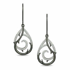 18k White Gold Over 1/5 CT Enchanted Disney Maleficent Diamond Drop Earrings
