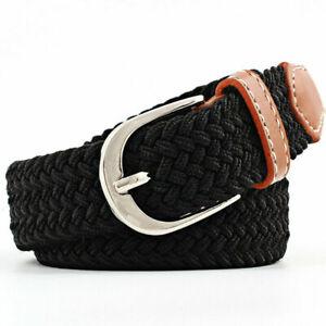 Unisex Elastic Belt Webbing Braided Plaited Stretchy Buckle Canvas Woven Belts