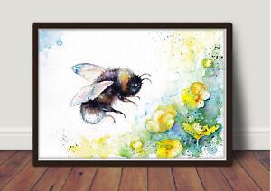 Bee and Buttercups, Original watercolour Print, wall art, Art Card,Poster