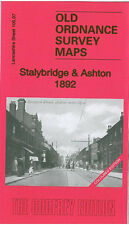 OLD ORDNANCE SURVEY MAP STALYBRIDGE ASHTON HURST DUKINFIELD 1892 COLOURED MAP