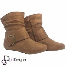 Womens Flat Heels Booties Ankle Boots Buckle fashion low Shoes Wedge Size Pumps