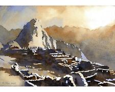 Machu Picchu-Peru.  Original watercolor of Machu Picchu in Sacred Valley, Peru
