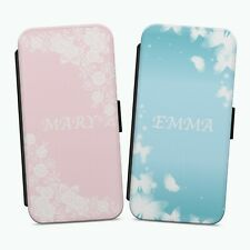 Personalised Name Floral Butterfly FLIP WALLET PHONE CASE COVER IPHONE SAMSUNG