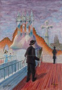 Llop - lito Gaudí en la azotea de la Casa Batlló, numerada y firmada