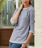 Soft Surroundings Women's Sail Striped Knit Pullover Top Size S