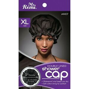 Ms. Remi Double Lined Shower Cap - Black XL - One Size Fits Most - #4407