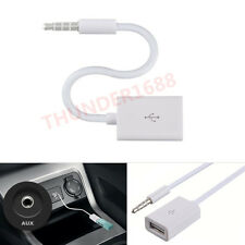 Car MP3 3.5mm Headphone Male To USB Port Adapter AUX Jack Audio Input Cord Cable