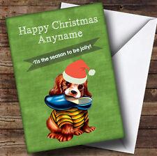 Chien avec Slipper Enfants Carte Noël Personnalisé