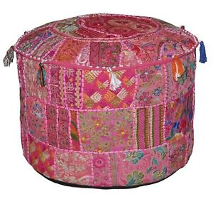 18'' Indien Patchwork Round Pouf Ottoman Cover Foot Stool Moroccan Pouffe Cover