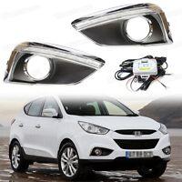 LED Daytime Running Lights DRL Fog Lamp Cover for Hyundai ix35 2011-2014 12 13