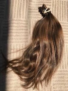 Medium Brown Virgin European Human Hair Haircut Cut Ponytail