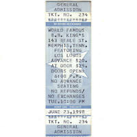 LOS LOBOS Full Concert Ticket Stub MEMPHIS TN 6/23/98 BB KINGS BEALE ST Rare