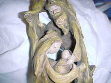Unusual Religious Lamp Roman, Of Driftwood With Mary, Joseph And The Baby Inside