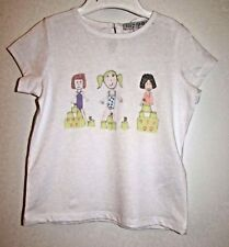 GIRLS T-SHIRT TUNIC TOP AGE 2-3 YEARS MARKS & SPENCER BEACH SANDCASTLES WHITE MI