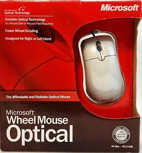 Microsoft Wheel Ivory Mouse Optical PC Mac USB PS/2 X08-71117A OPEN BOX 100% NEW