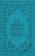 Le Noble Coran bleu façon cuir français arabe complet livre islam - NEUF
