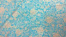 KANVAS STUDIO BOHEMIAN RHAPSODY GOLD FLOWERS ON BLUE COTTON FABRIC BTY