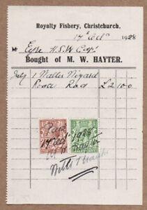 1933 Royalty Fishery Christchurch Tackle & Bait Account Handwritten Monty Hayter