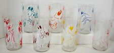 Vintage Maxey Cartoon Drinking Glass Tumbler Lot of 7