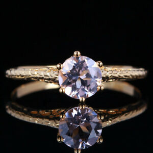 Fine Jewelry!Lady Solid 14K Yellow Gold Pink Morganite Engagement Wedding Ring