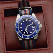 40MM Corgeut Blue Dial SUB Automatic Men's Watch Mechanical Nylon Strap