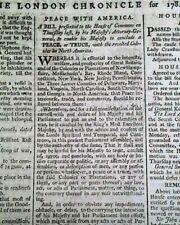 Making Peace W/ America ? Revolutionary War Ending 1782 Old British Newspaper