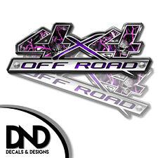 4x4 Decals 2 Pk Sticker for Chevy Silverado GMC Sierra truck - Skull Pink - D&4