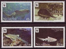 NIUAFO'OU 2012 WWF FISH, ZEBRA SHARKS UNMOUNTED MINT SET OF 4