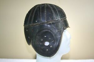 Vtg early Antique Old Leather Suspension Game Worn Used Football Helmet
