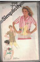 9941 Vintage Simplicity Sewing Pattern Misses Button Front Blouse Shirt Uncut