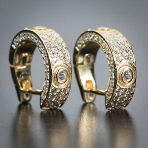 Elegant Fully Iced Honey Comb Set Cz 14K Yellow Gold Small Mens Hoop Earrings
