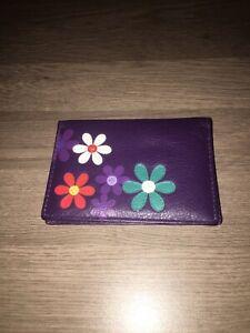 Mala Leather Daisy Motif Oyster ID/Card Holder Wallet - BNWOT
