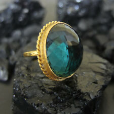 Handmade Oval Huge Nice Green Amethyst Ring  Gold over 925 Sterling Silver