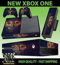 XBOX ONE CONSOLE STICKER ABSTRACT SKULL WIRE DARK ROSES GOTH SKIN & 2 PAD SKINS