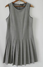 a1ff00647a2fc Theory Dress Wool Blend Heather Gray Sleeveless Drop Waist Pleated Size 10