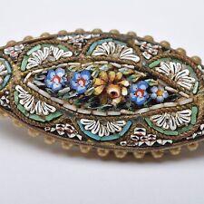 Sottili ANTICHI MICRO MOSAICO spilla, Italia del 1870/80, Millefiori, fiori, 4v5