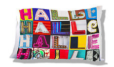 Personalized Pillowcase featuring HALLE in photo of sign letters