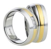 Trauringe Verlobungsringe Eheringe aus Titan mit Zirkonia Ringe Gravur AB881