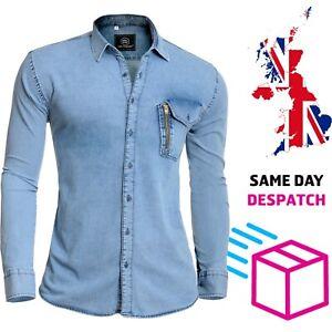 Designer Mens Blue Denim Shirt Decorative Golden Zipper Chest Pocket Long Sleeve