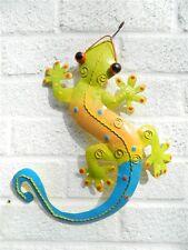 Gecko Wall Art Ornament - Metal Geckos Lizard Wall Hanging - Blue & Green 40cm