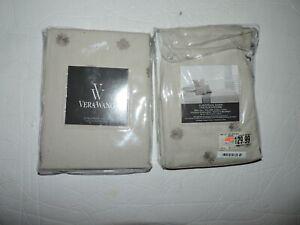 Vera Wang  Set of 2 EUROPEAN Pillow Shams Embroidered Lattice