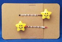 SMILEY STARS Handmade Bobby PIn Hair clips - Set of 2