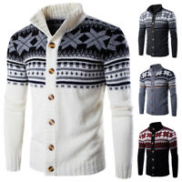 Mens Novelty Christmas Sweater Retro Vintage Jumper Snowflake Knitted Tops Coat