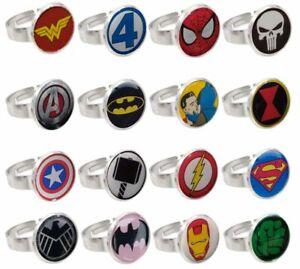 SUPERHERO CARTOON COMIC LOGO ADJUSTABLE RING JEWELLERY SUPER HERO VARIOUS STYLES