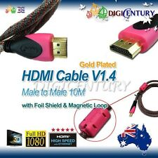 HDMI Cables V1.4 3D CCC Full HD HighSpeed Pink Ethernet 10m connect TV PC Laptop