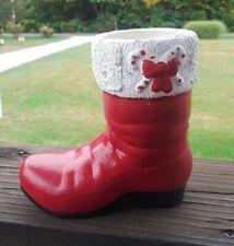 "New listing Vintage 5"" Tall Ceramic Santa Boot Handpainted Christmas Decoration"